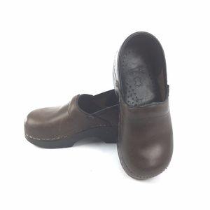DANSKO Kids Dark Brown Leather Clog Shoe